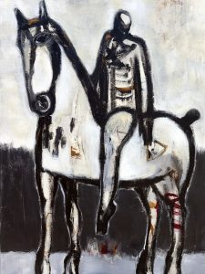James Koskinas Horse in Black Field with Rider IV