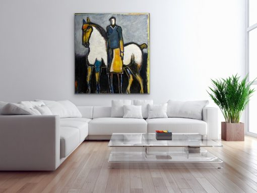 Horse and Rider in Yellow
