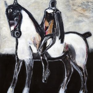 Horse with Ochre Rider III by James Koskinas