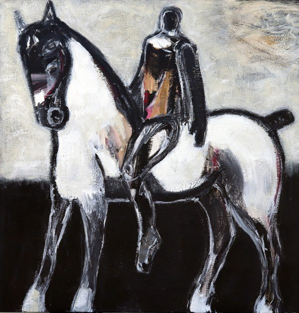 Horse with Ochre Rider III by James Koskinas