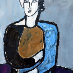 Seated girl With Purple by James Koskinas