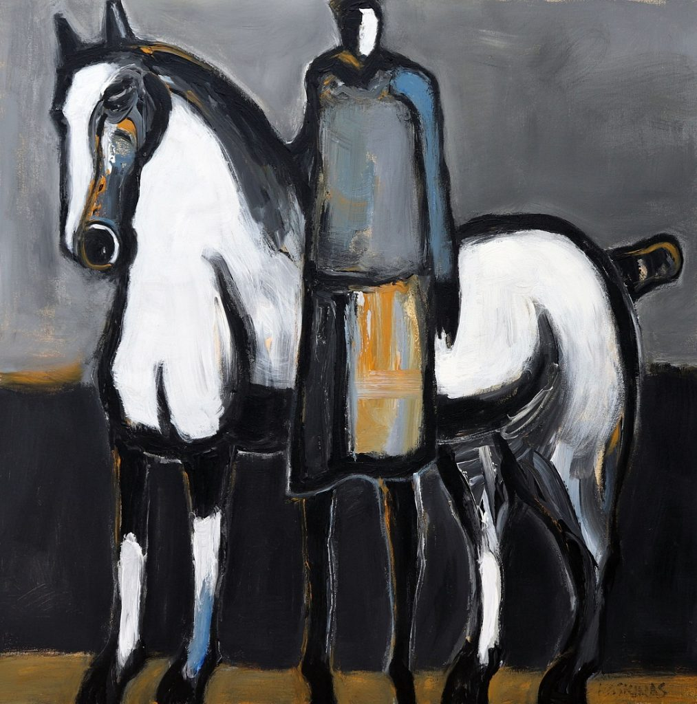 James Koskinas White Horse with Standing Rider III