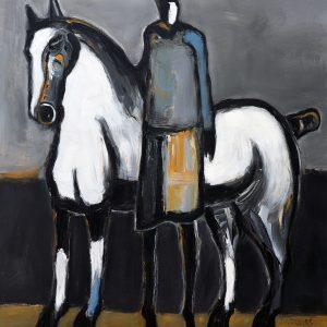 James Koskinas White Horse with Standing Rider III