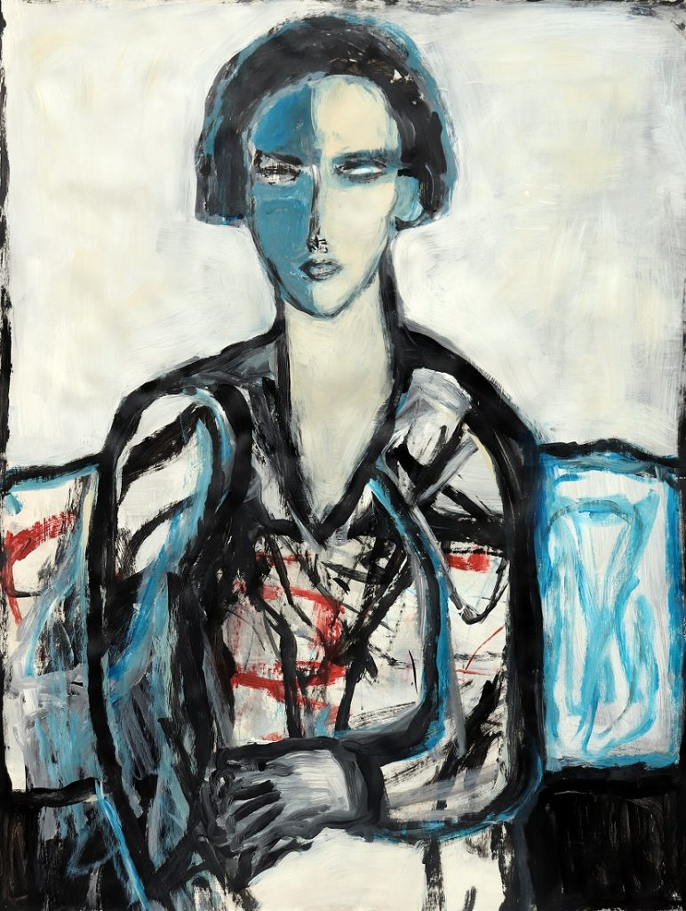 koskinas girl in blue chair