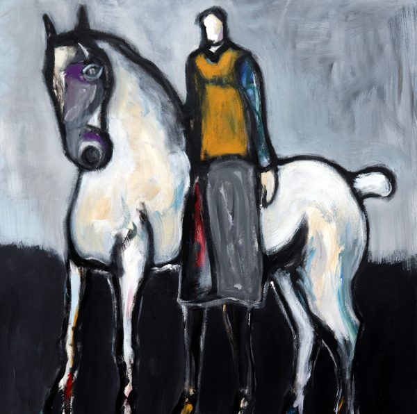 james koskinas Horse and Rider with Red, 40 X 40 acrylic on canvas