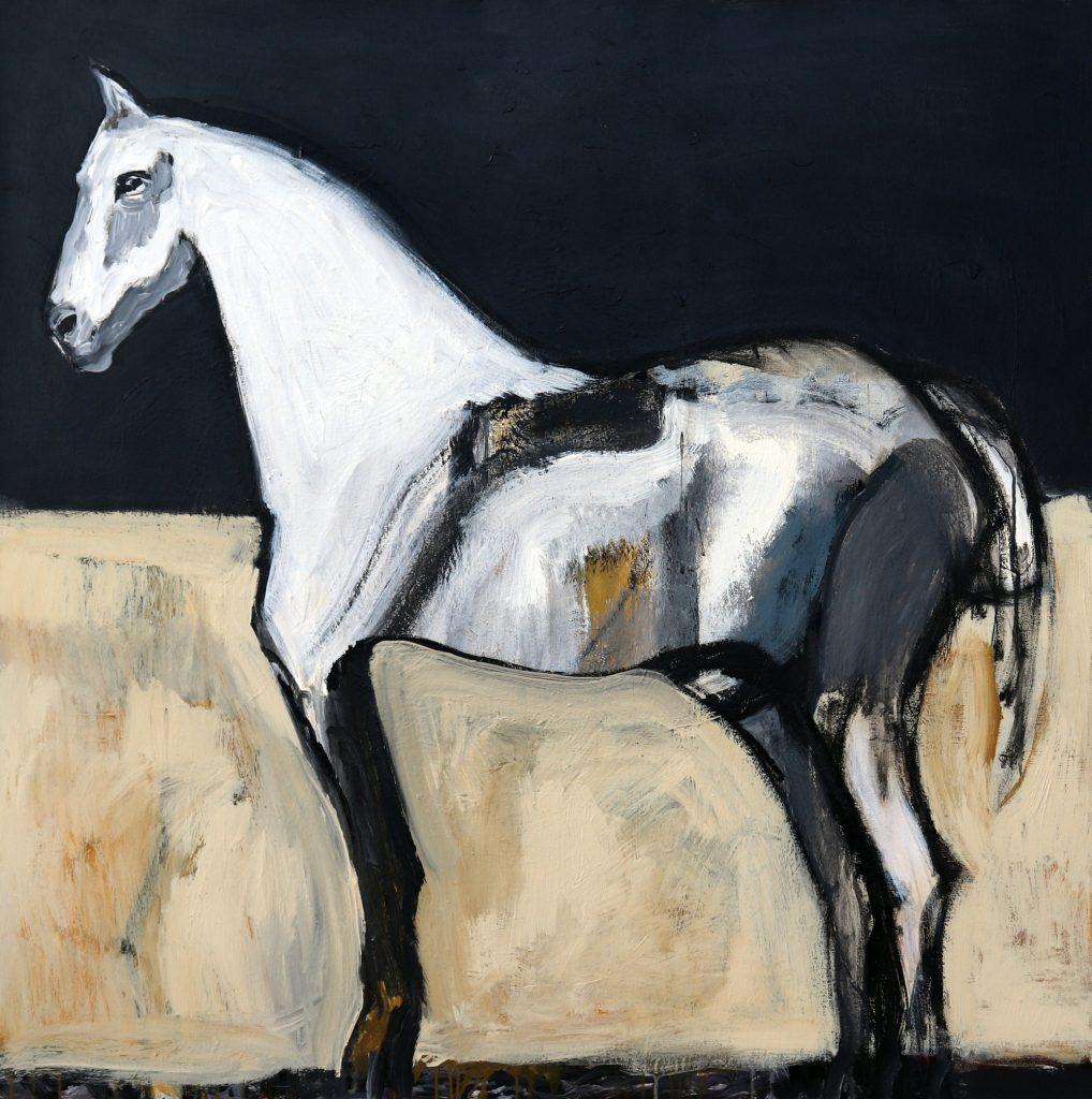 james koskinas White Horse in Ochre Field II, 48 X 48, acrylic on canvas
