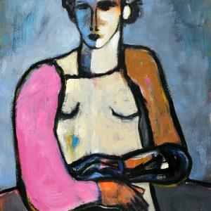 koskinas Girl in Blue Field, 48 X 36, acrylic canvas