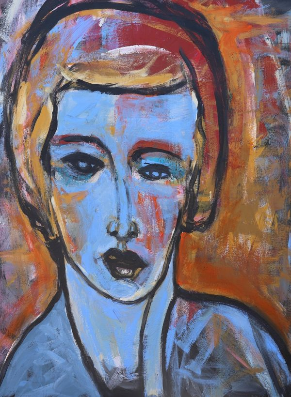 koskinas Girl with Blue IV, 48 X 36, acrylic canvas
