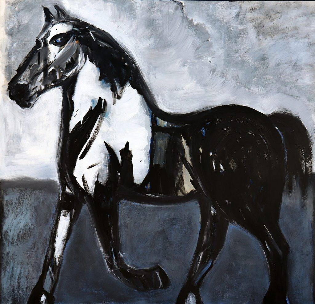 koskinas Horse in Blue Field, 54 X 56, acrylic on canvas
