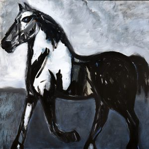 koskinas Horse in Blue Field, 54 X 56, acrylic on canvas