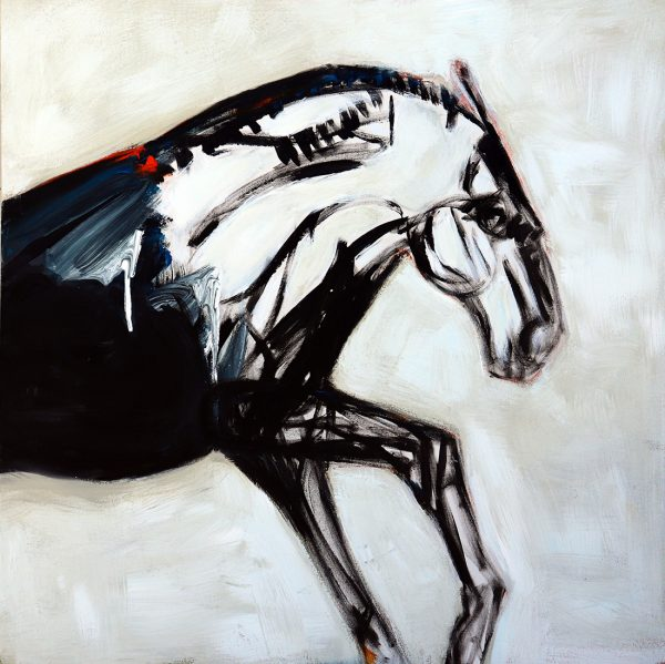 koskinas Horse in White Field, 48 X 48, acrylic on canvas