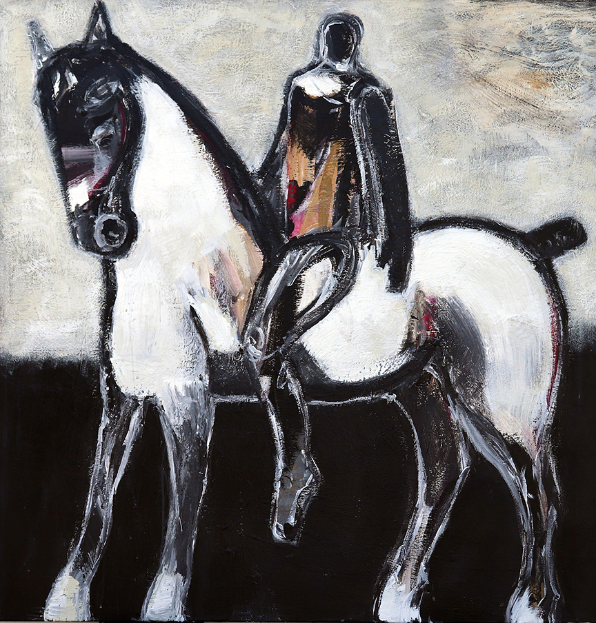 koskinas Horse with Ochre Rider III, 40 X 40, acrylic on canvas