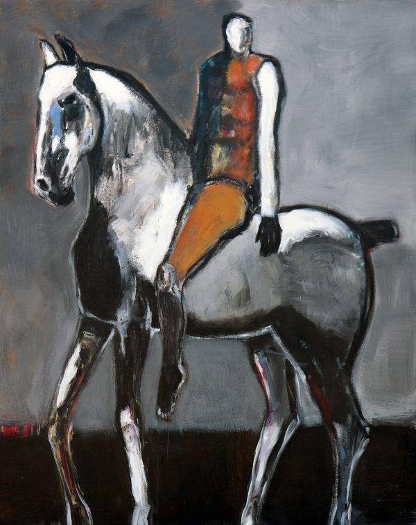james koskinas rider on gray horse with ochre