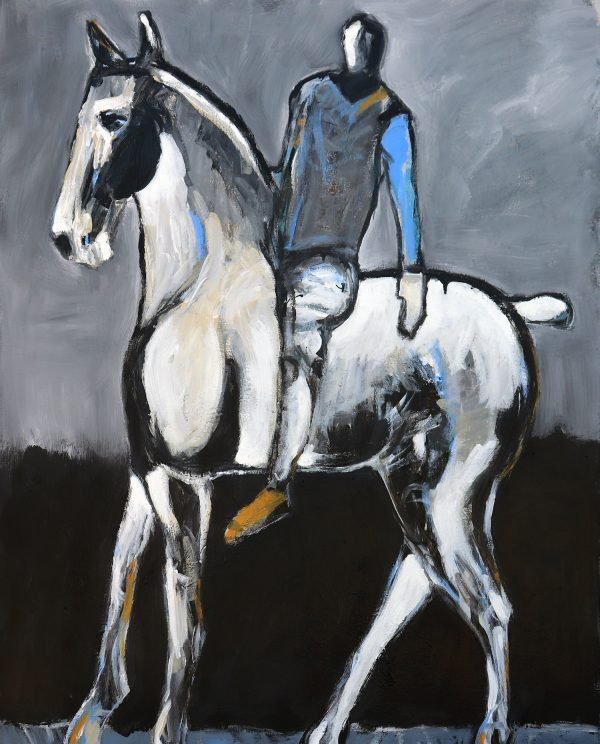 james koskinas white horse and rider with blue