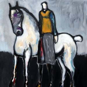 koskinas Horse and Rider with Red, 40 X 40 acrylic on canvas