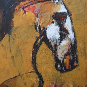 koskinas Portrait of Ochre Horse, 48 X 36, acrylic on canvas